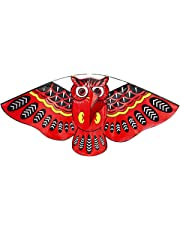 FUNCOCO Owl Kite, Easy Flyer Kite for Kids - Easy to Assemble, Launch, Fly- Perfect for Beach or Park by Hengda Kite( Red)