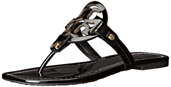 Tory Burch Miller Flip Flop Veg Leather Thong Sandal Logo Black