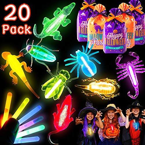 20 Pack Glow Sticks Necklaces Neon Party Favors, Halloween Trick or Treat Goodie Bags with Bug Toys Glow in the Dark Party Supplies Kids Prizes Light Up Toys for Classroom Halloween Party Decorations