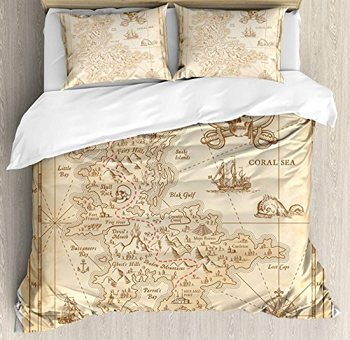 LEO BON Island Duvet Cover Set King Size, Old Ancient Antique Treasure Map with Details Retro Color Adventure Sailing Pirate Print Floral Duvet Cover and Pillow Shams Bed Set, Cream