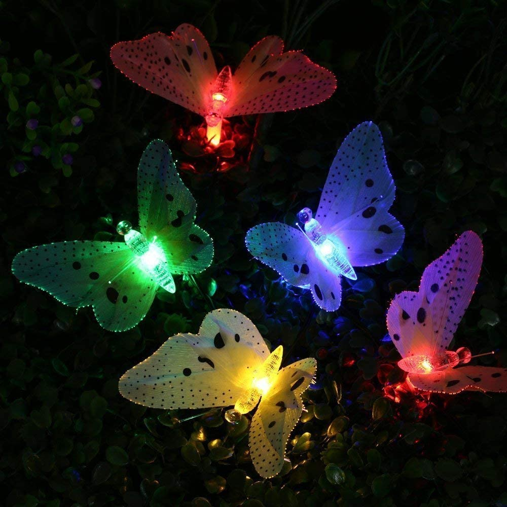 LAFEINA Butterfly Solar String Lights, 20 LED Fiber Optic Multi-Color Beautiful Butterfly Fairy Lights for Outdoor Garden, Lawn, Patio, Yard, Wedding, Party, Decoration