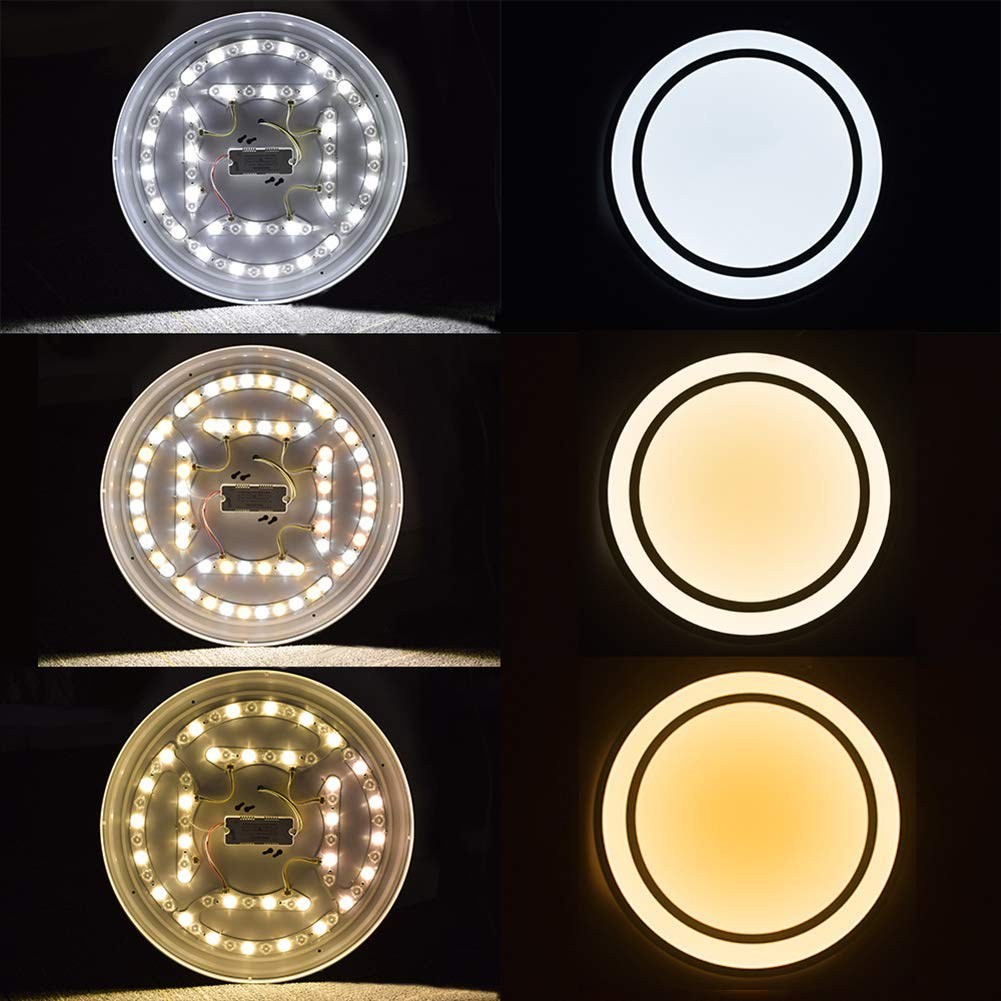 DLLT 48W Dimmable Led Flush Mount Ceiling Light Lighting with Remote-20 Inch Close to Ceiling Lights Fixture for Bedroom/Living Room/Dining Room, 3000K-6000K Color Changeable by DINGLILIGHTING (Image #2)