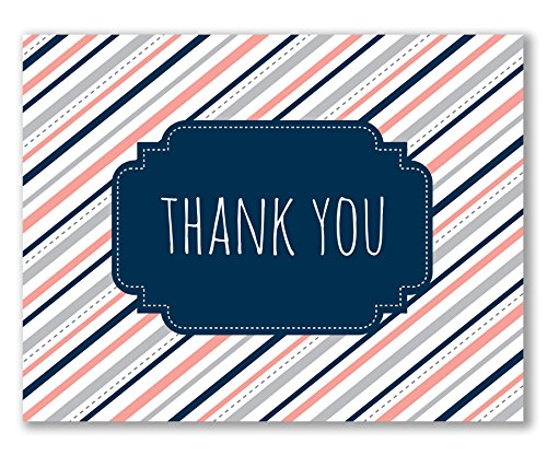- Recycled, Wedding Thank You Cards, Preppy Pink and Navy Stripe - Amber