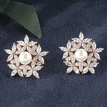 KHOBGLU Joyas De Plata Pendientes De Perlas para Mujeres Nuevas Piedras Preciosas De Accesorios De Boda Femeninos