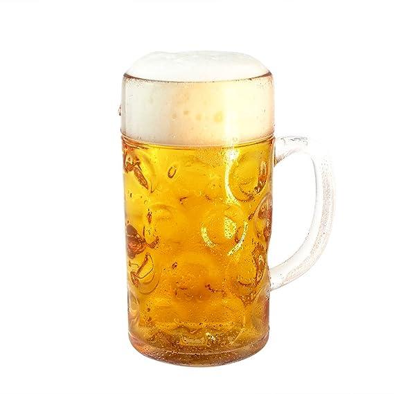 Bierglas Bierbecher Bierkrug Ma/ß Mehrweg 1 Liter DoimoFlair aus Kunststoff SAN Transparent Set 1 STK.