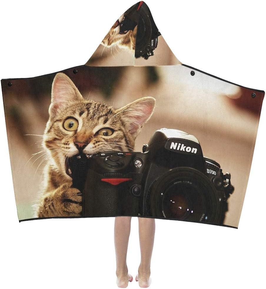 Manta con capucha para niños Mordida de gatos Cámaras divertidas Nikon Kittens Cámara de fotos Manta con capucha para niños Toallas de baño Manta para niños pequeños Niño Niña Niño Viaje en