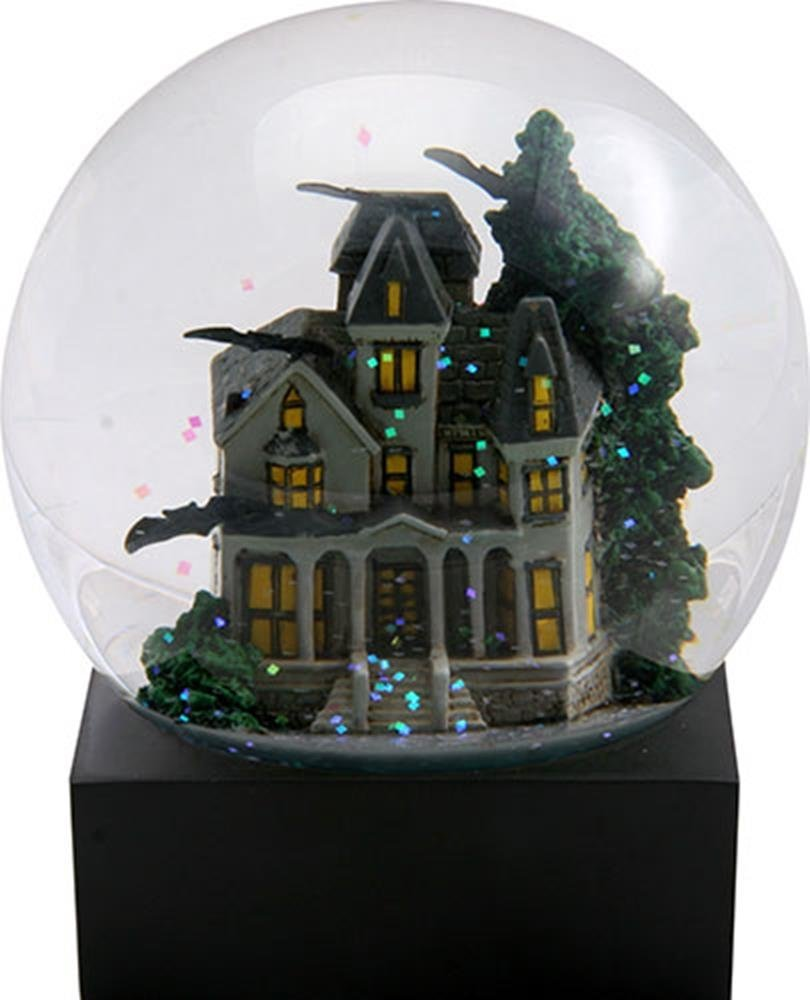 4.25 Inch Haunted House Water Globe with a Green Tree and Flying Bats