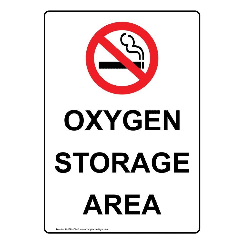 ComplianceSigns垂直プラスチック酸素ストレージエリアサイン、10 x 7インチwith英語テキストとシンボル、ホワイト B01F6GJJRC