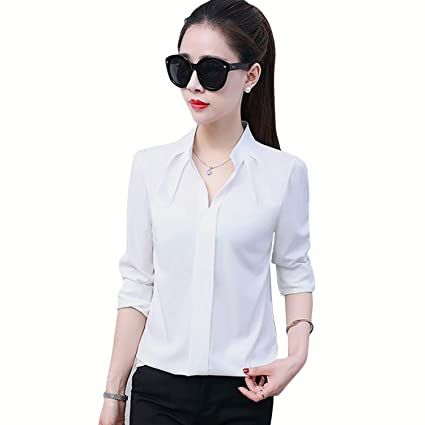 bdc05c35d3d Amazon.com: Long Sleeve Ladies Office Blouse Shirts Turn Down Collar  Elegant Women Tops Summer Autumn Casual Blouses (White,M): Kitchen & Dining