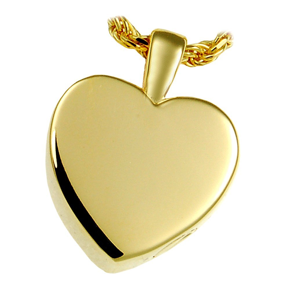 Memorial Gallery MG-3146yg Classic Heart 14K Solid Yellow Gold (Allow 4-5 Weeks) Cremation Pet Jewelry, Small
