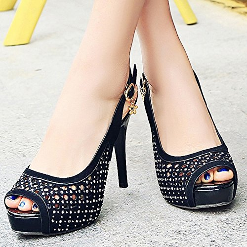 High Heel Women Lady Shoes Sandals Stiletto Sexy Black Peep Toe TAOFFEN Fashion 8SAqqU