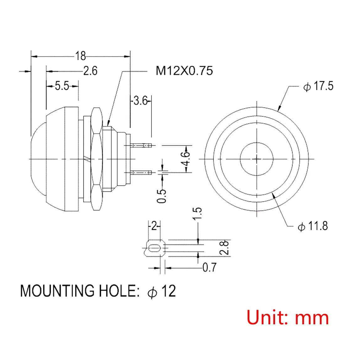 Larcele 10x 12mm Impermeable Momentaneo Prueba de Agua Boton Pulsador ANKG-01 (5 Colores): Amazon.es: Bricolaje y herramientas