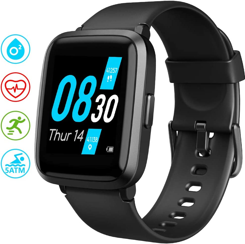 Smart Watch, UMIDIGI UFit Fitness Tracker for Men Women with Blood Oxygen(SpO2) Meter Heart Rate Monitor 5ATM Waterproof, Smartwatch for iPhone Android Phones
