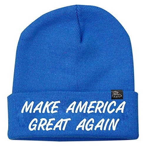 OKSTAR Unisex Trump Make Great America Again Beanie Hat Winter(Blue) -