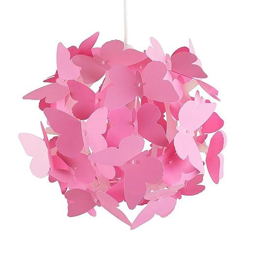 Modern Globe Design Ceiling Pendant Light Shade With Decorative Pink  Butterflies