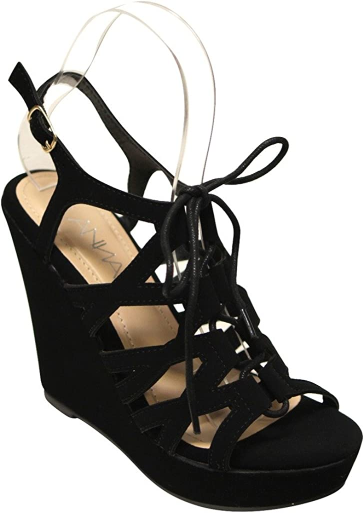 ANNA Paso-2 Womens Open Toe lace up Caged Slingback Nubuck Wedge Sandals Black 7.5