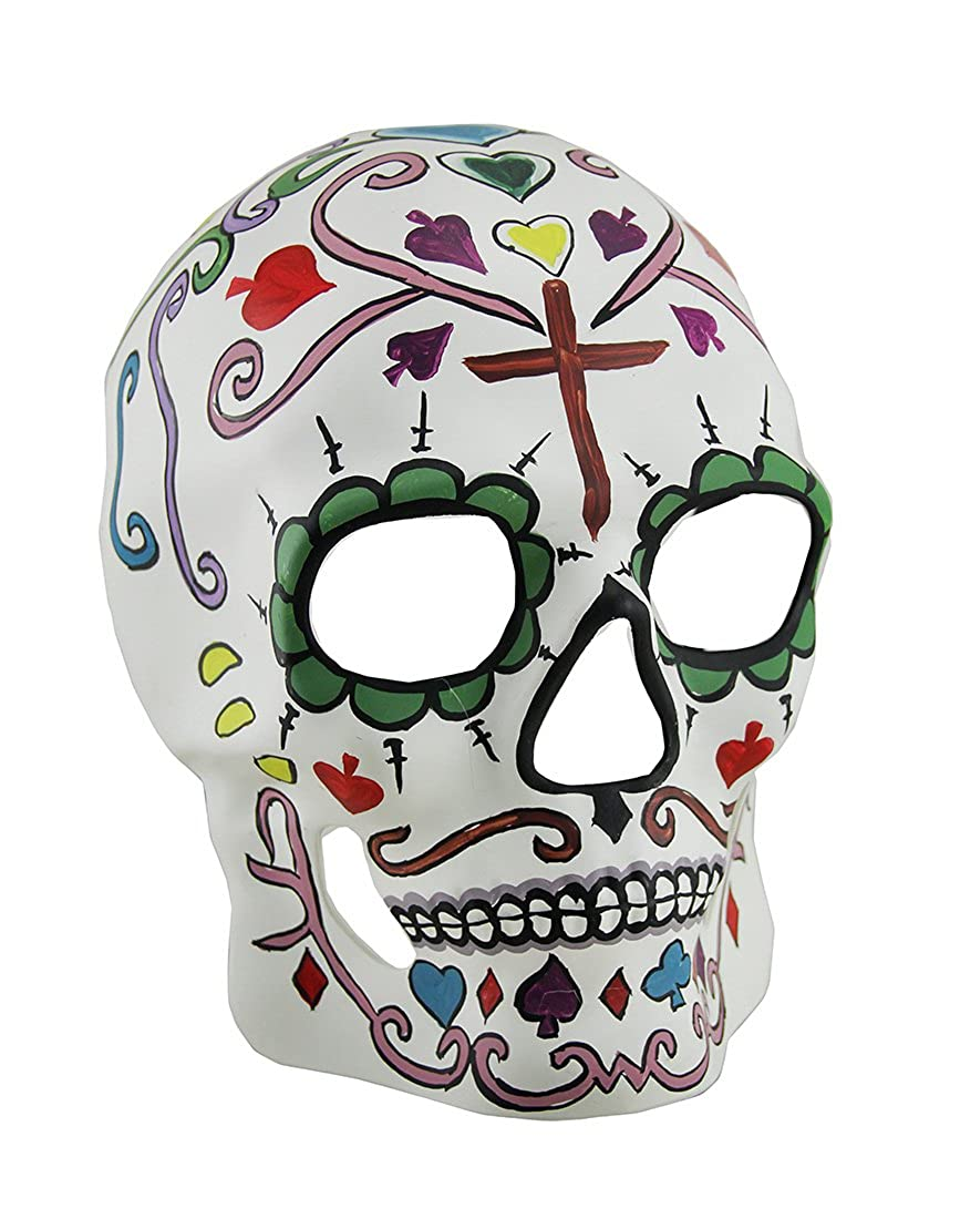 Zeckos Colorful Day of the Dead Full Face Sugar Skull Mask w//Red Cross