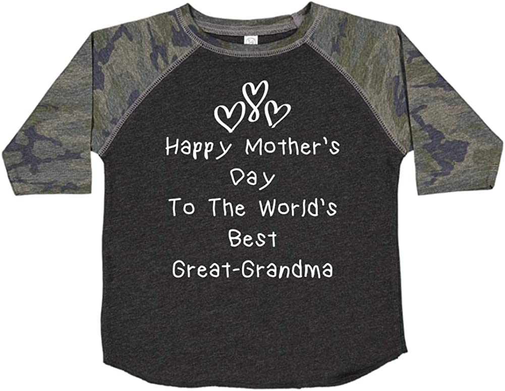 Happy Mothers Day to The Worlds Best Great-Grandma Toddler//Kids Raglan T-Shirt