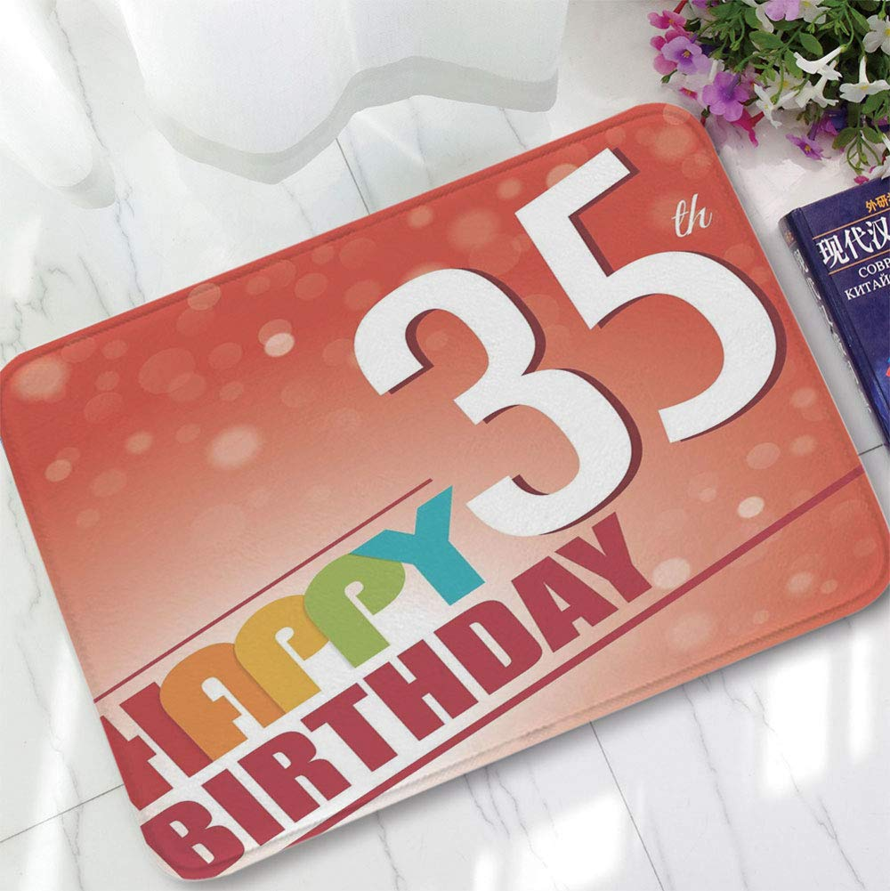 YOLIYANA Custom Carpet,35th Birthday Decorations,for Children Bedroom Corridor,15.75''x23.62'',Retro Style Party Invitation Colorful Lettering