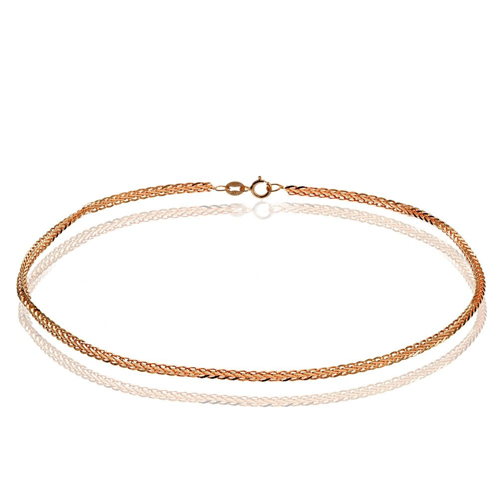 Bria Lou 14k Rose Gold .8mm Italian Spiga Wheat Chain Anklet, 9 Inches