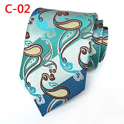 Xiessi Men's Classic Striped Paisley Cyan Blue Jacquard Woven Silk Tie Necktie