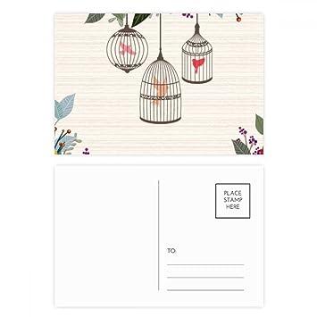 DIYthinker Gracias jaula flor estante tarjetas postales conjunto ...