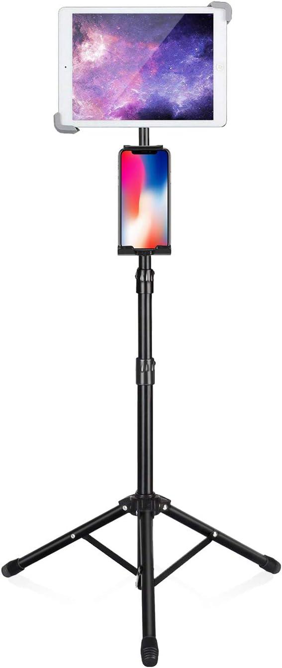 Elitehood iPad Tripod Stand, 65-inch Height Adjustable iPad Stand Holder & iPad Floor Stand with 360° Rotating iPad Tripod Mount for iPad, iPad Air, iPad Pro 12.9 11 and All 4-14.5 Inch Tablets