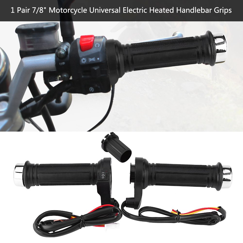 Electric Hot Heated Motorcycle Heated Hand Grips Handlebar Warmer with Covers and Sleeve for Motorcycle//Bike//ATV New Version 1 Pair Universal 7//8 Motorcycle Handlebar Grips