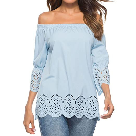 Off Shoulder Blouse for Womens, FORUU Casual Hollow Out 3/4 Sleeve Tops T