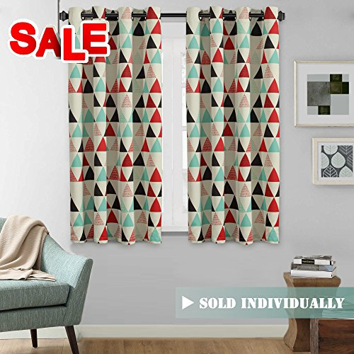 H.Versailtex Classical Style Stone Blue/Red/Beige/Black Triangle Pattern Room Darkening Thermal Insulated Blackout Curtain Drapes with Antique Grommet, 1 Panel - 52 x (Curtains Drapes Styles)