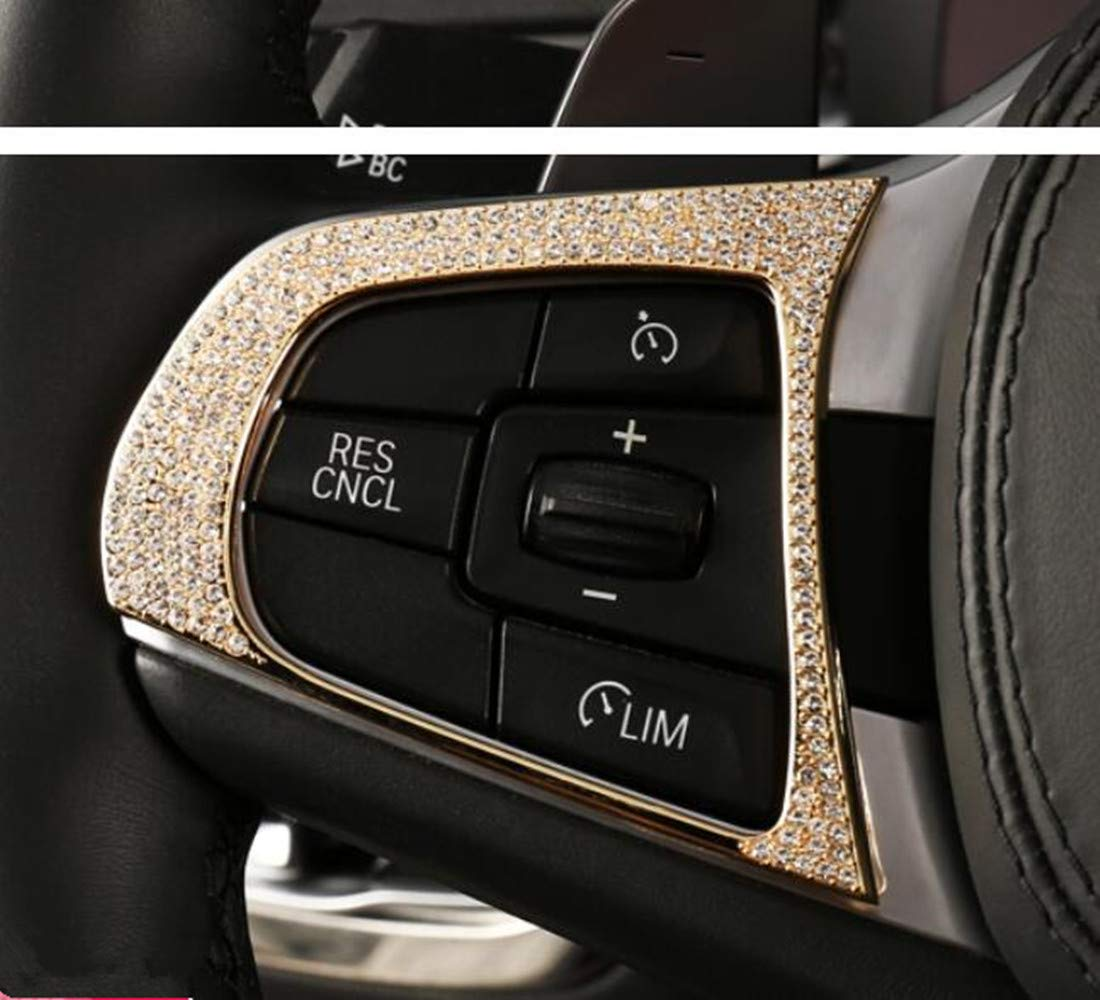 Silver YUWATON Car lnterior Bling Accessories for BMW Steering Wheel 3D Rhinestone Decal Cover Car Bling Accessories for Women