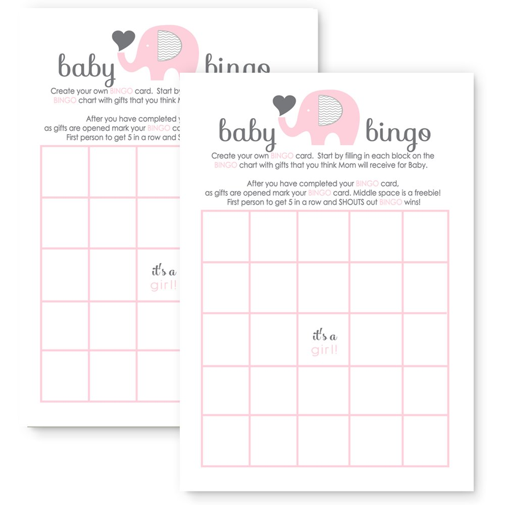Pink Elephant Baby Shower Bingo Game Cards - Set of 25