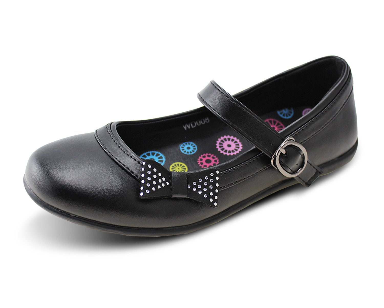 Wayee Girls School Uniform Shoes Bowknot Mary Jane Flats (Little Kids/Big Kids) (11)
