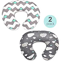 "2PC Newborn Baby Breastfeeding Pillow Cover Nursing Pillow Cover Slipcover (White,Gray, 1971-22.5"" x 18"")"
