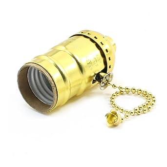 Tono de oro cuerda del tirón Acción E26 Lámpara sujetador del conector del adaptador de CA