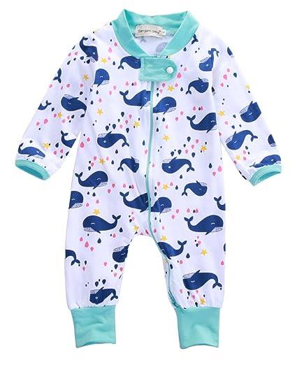6cf613dc6c74 Amazon.com  Newborn Baby Organic Cotton Long Sleeve Romper Blue ...