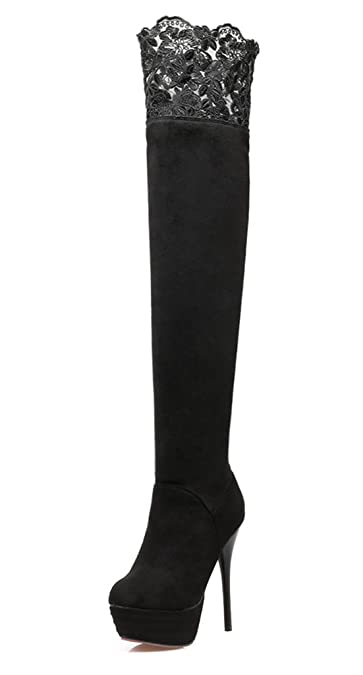 YE Damen Overknee Stiefel Stiletto High Heels Plateau mit Spitze und 13cm  Absatz Elegant Party Schuhe df6dfb76e6