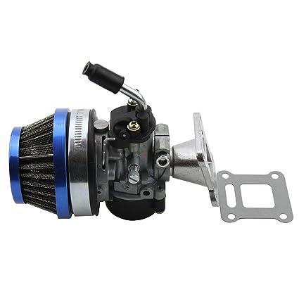 GOOFIT 2 Tiempos 58mm Filtro Carburador Moto para 47cc 49cc Mini Pocket Bike Quad Scooter Desbrozadora ATV Azul
