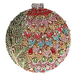 Fawziya Leaves With Flower Purse Women's Round Shape Rhinestone Clutch Evening Bag-Gold