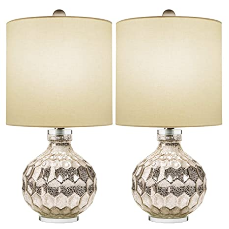 2 x Silver Hexagon Mercury Glass Table Lamp With White Linen Drum  Shade,Hand Crafted Elegant Bedroom Lamps For Nightstand Set Of 2,19\
