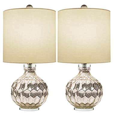 2 x Silver Hexagon Mercury Glass Table Lamp with Crystal Base & White Linen Drum Shade,Hand Crafted Elegant Bedroom Lamps for Nightstand Set of 2,19  High Harp Construction,E26 Medium Base