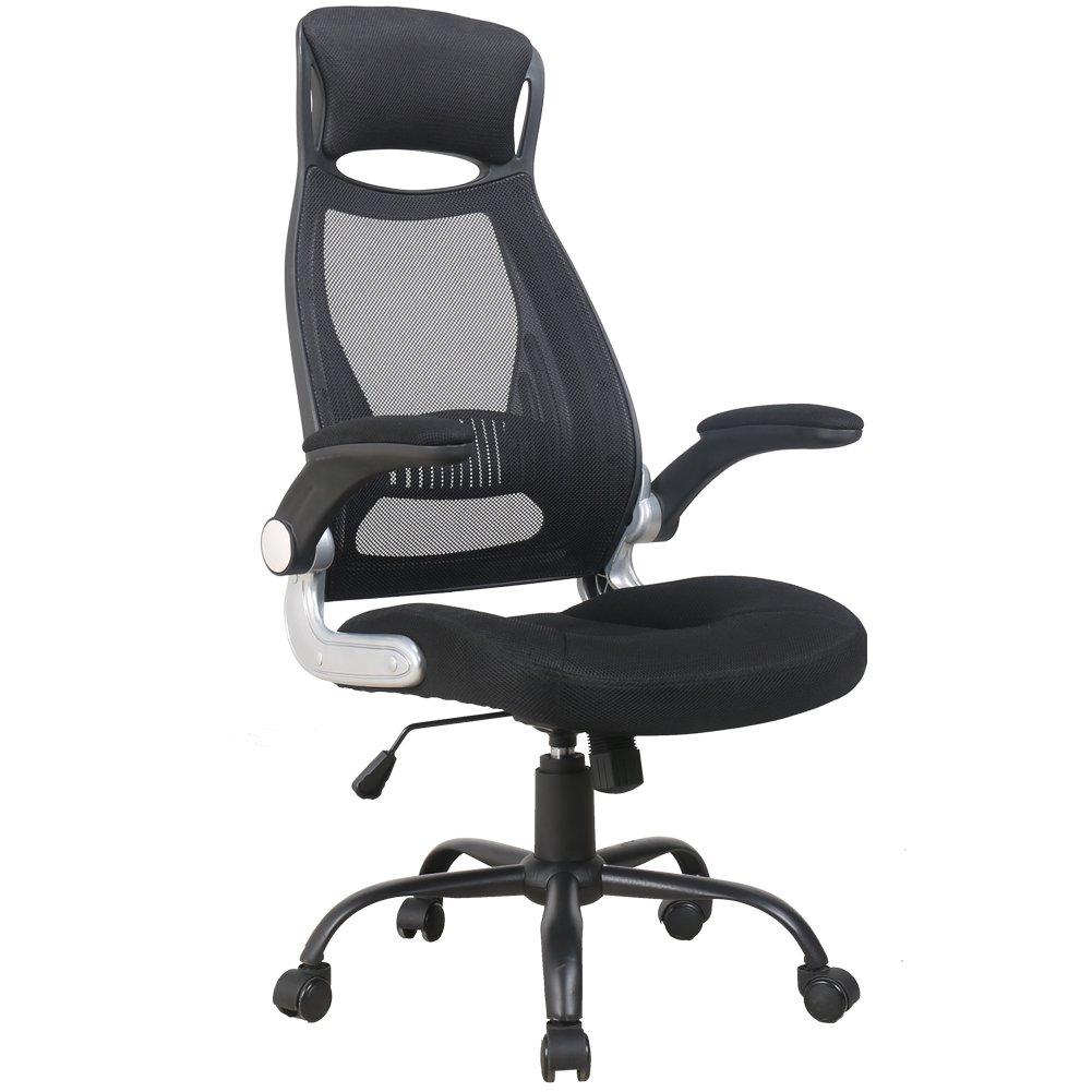 Zenith High Back Mesh Office Chair with Adjustable Armrest Lumbar Support Headrest Swivel Task Desk Chair Ergonomic Computer Chair (Black)