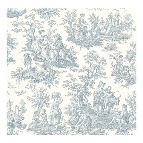 York Wallcoverings Waverly Classics Country Life Removable Wallpaper, White/Blue
