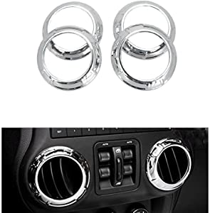 Niceautoitem 12pcs Auto Interior Parts Decoration Car Inner Dashboard Trim Cover ABS for Jeep Wrangler 4 Door 2011-2016 (Chrome)