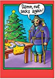 B5709 Box Set of 12 Peg Leg Socks Eales Christmas Cartoon Funny Christmas Greeting Cards; with Envelopes
