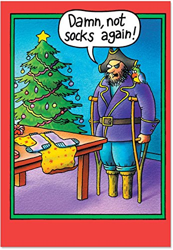 Peg Leg Socks - Funny Pirate Christmas Greeting Card with Envelope (4.63 x 6.75 Inch) - Pirate and Parrot Xmas Gift, Happy Holidays Card for Kids, Adult - Cartoon Seasons Greeting Stationery 5709