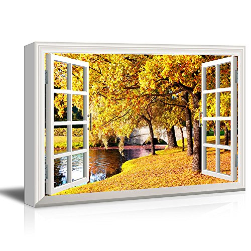 Window View Trees with Yellow Leaves in the Park during the Fall Season Gallery