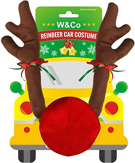Vehicle Nose Horn Costume Set Christmas Reindeer Antlers with Plush Reindeer Nose Ornaments(Khaki) Christmas Reindeer Antlers Red Nose Set for Car Ornament Truck Accessory