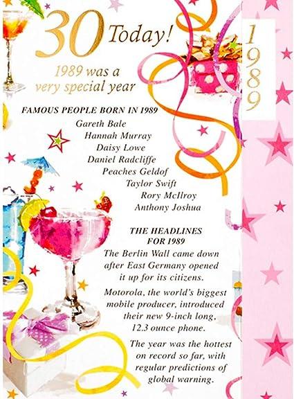 carte anniversaire femme 30 ans Carte d'anniversaire pour femme 30 ans et 30 ans avec inscription