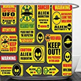 Beshowere Shower Curtain Outer Space Decor Warning Ufo Signs with Alien Faces Heads Galactic Paranormal Activity Design Yellow